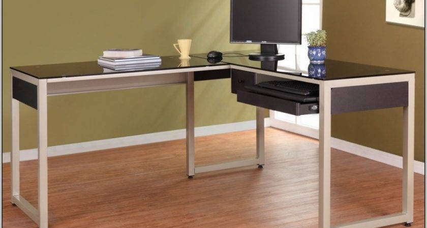Shaped Black Glass Desk Expensive Home Office
