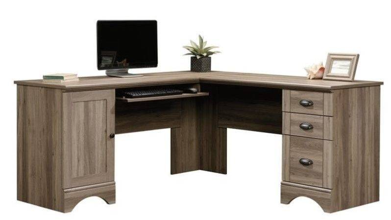 Shaped Computer Desk Salt Oak