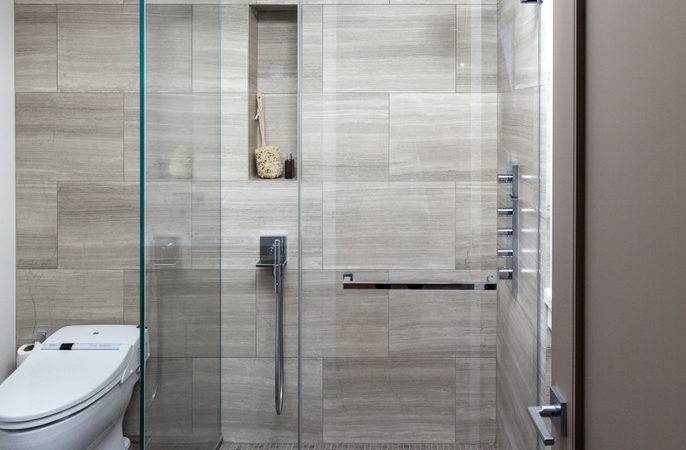 Shower Tile Floor Bathroom Contemporary