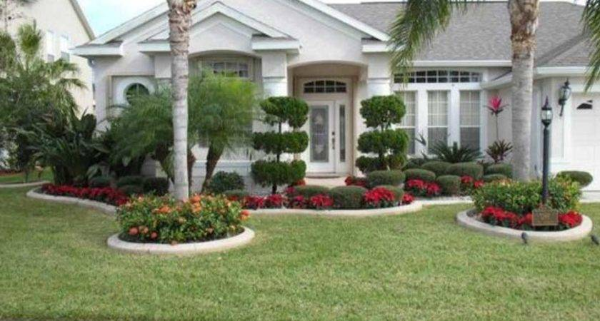 Simple Front Yard Landscape Design Palm Trees Home