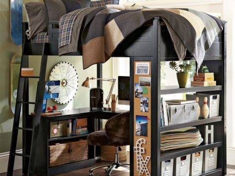 Skateboard Themed Bunk Bed Workspace Boys Room
