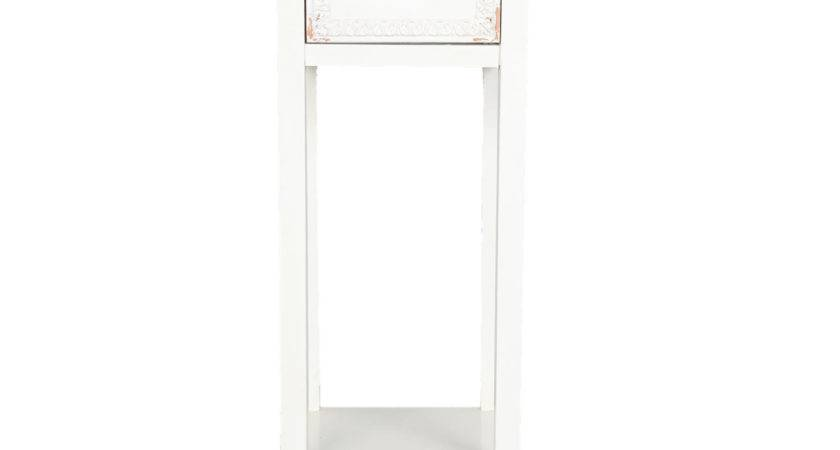 Slim Bedside Table Drawer White Achica