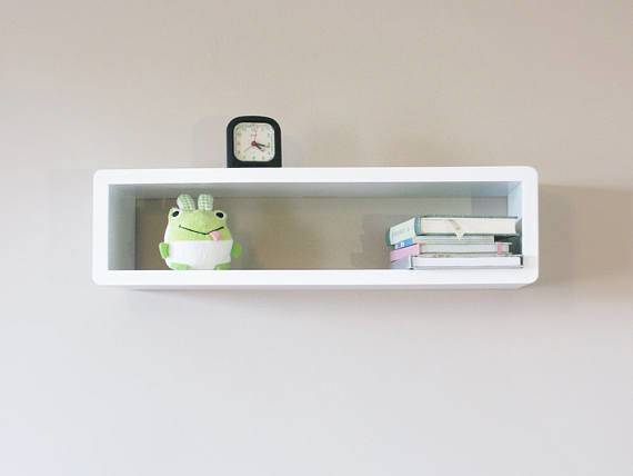 Slim Modern Floating Wall Shelf Cube Cabinet