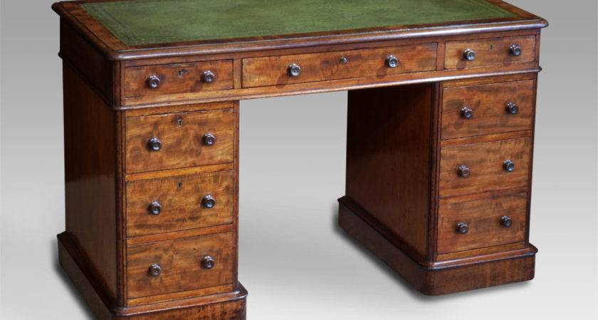 Small Antique Pedestal Desk Leather Top Mahogany