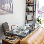 Small Home Office Clear Desk Black Shelves Behind