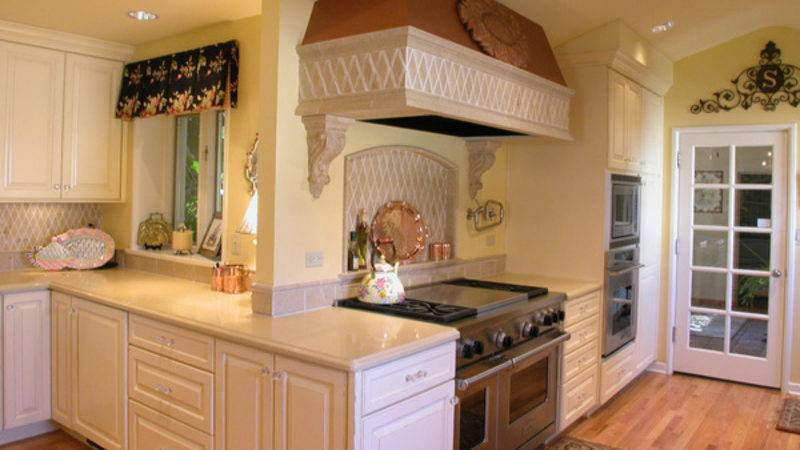 Small Kitchen Cooking Area Interior Design Wood Wall