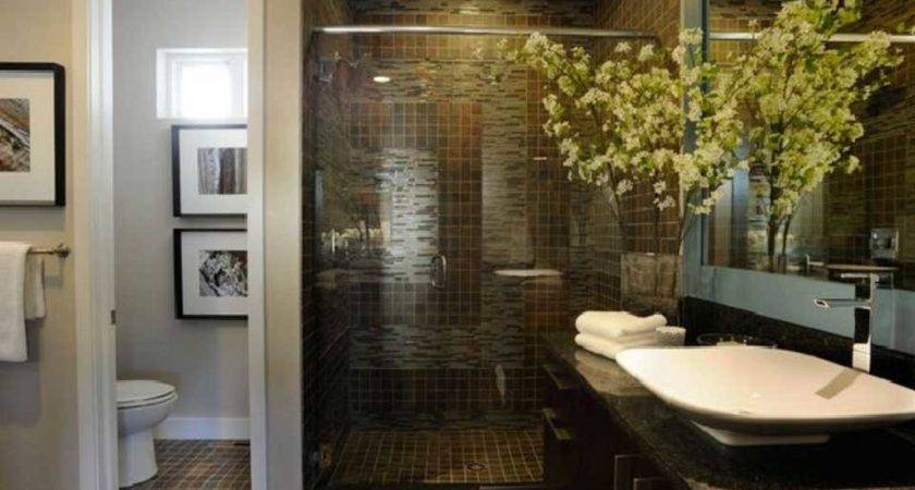 Small Master Bathroom Remodel Ideas Dark Ceramic Tile