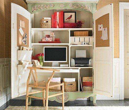 Small Spaces Home Office Ideas Round
