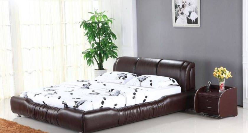 Soft Headrest Genuine Leather Beds Brown Color Classic
