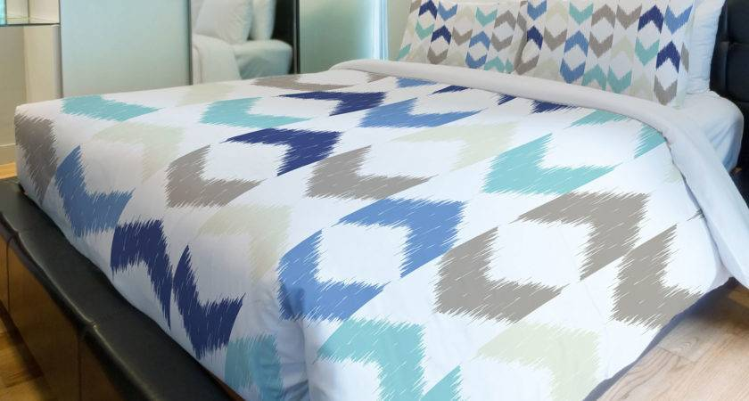 Soft Ikat Arrows Duvet Cover Multi Blue Twin