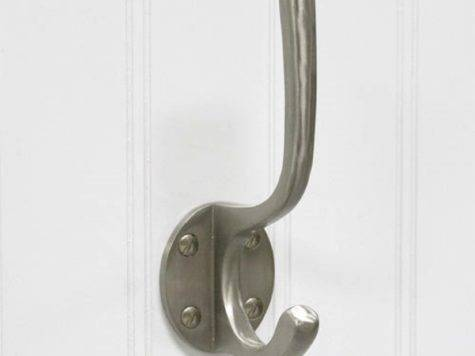 Solid Brass Double Coat Hook Round Backplate