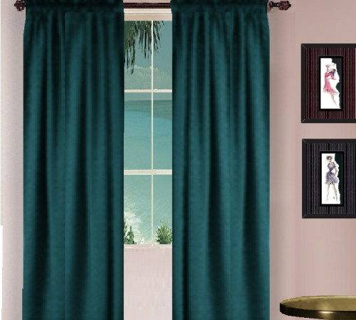 Solid Dark Teal Colored Window Long Curtain Available