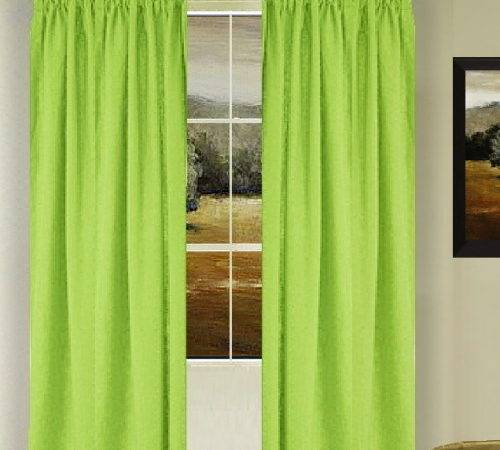 Solid Lime Green Colored French Door Curtain Available