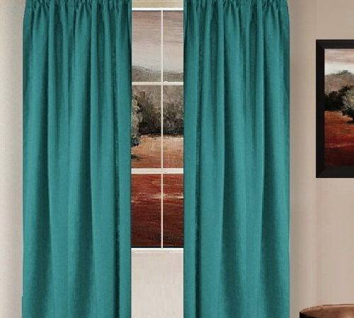 Solid Teal Colored Window Long Curtain Available Many
