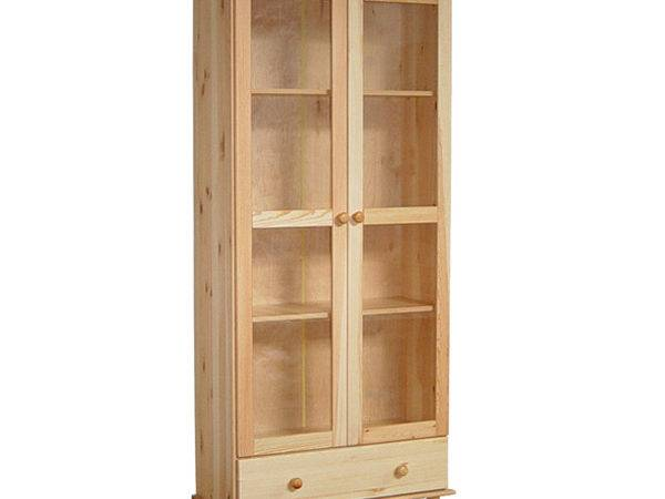 Solid Wood Bookshelf Glass Doors Bookcase Natural
