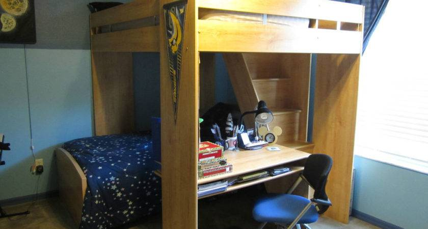 Solid Wood Bunk Bed Desk Staircase Rooms