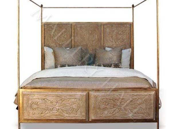 Solid Wood Canopy Queen Bed Natural Finish Ebay