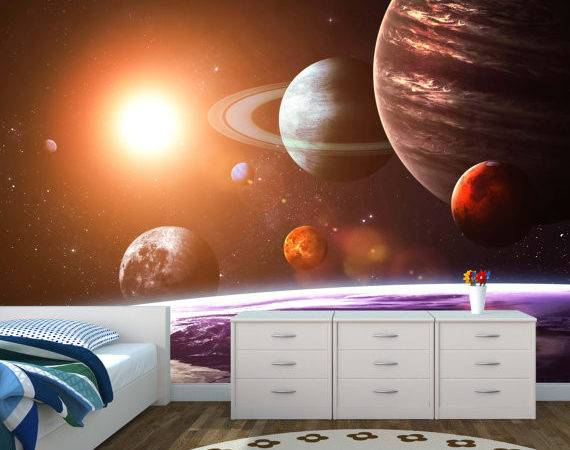 Space Galaxy Wall Mural Solar System Kids