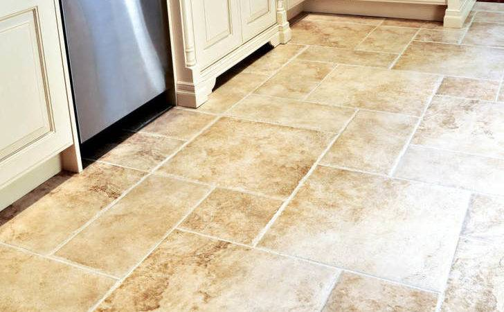 Square Rectangle Cream Tile Kitchen Floor White