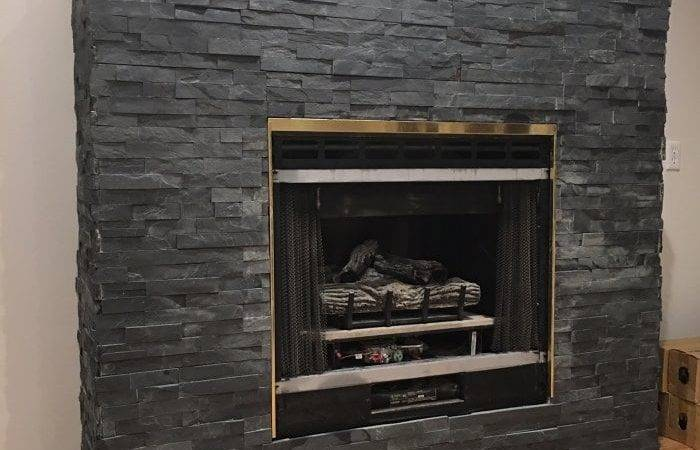 Stacked Stone Fireplace Makeover Angie List