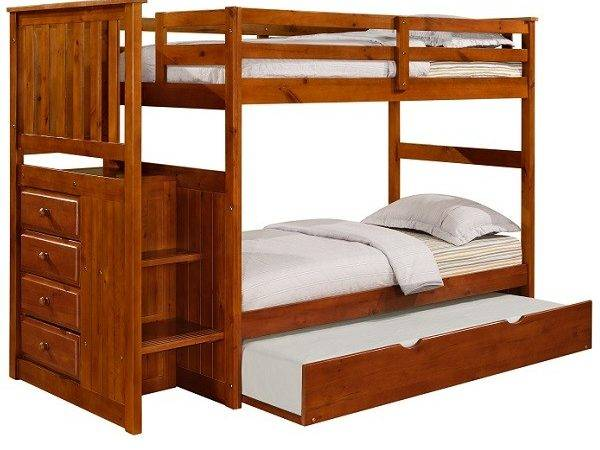 Stairway Bunk Bed Solid Pine Mission