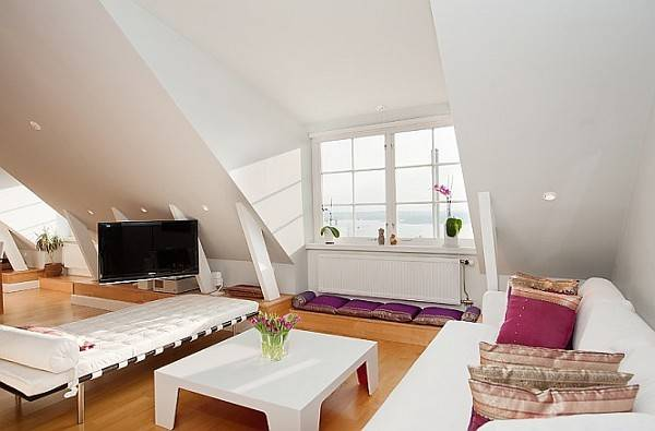 Stockholm Attic Apartment Charms Its Steep Ceilings