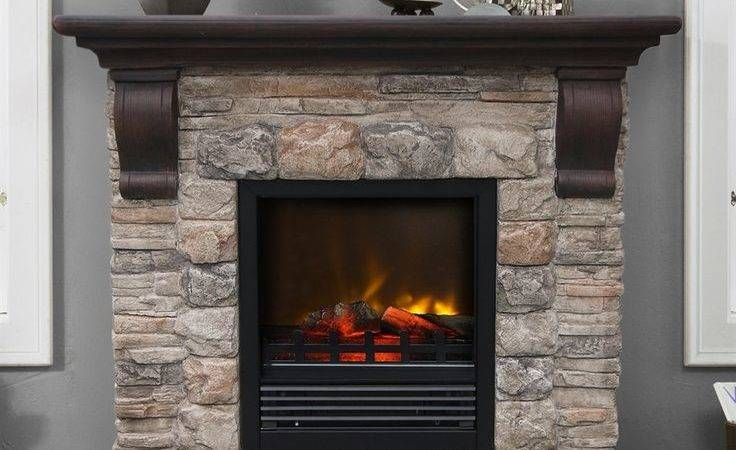 Stone Electric Fireplace Modern Rustic Home Designs Homesfeed