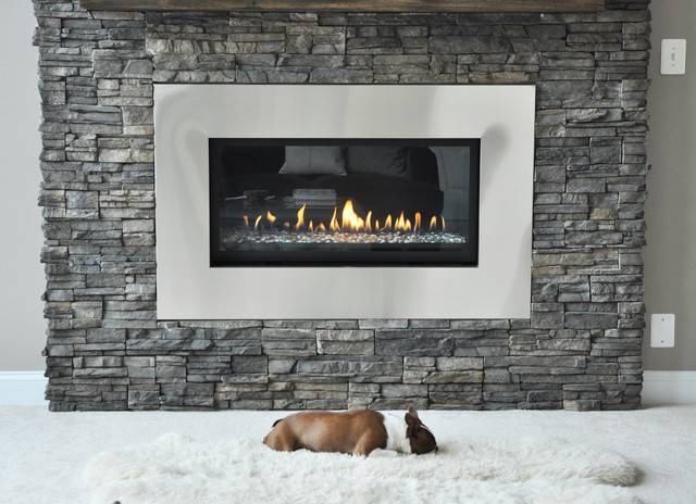 Stone Fireplace Renovation Contemporary Living Room