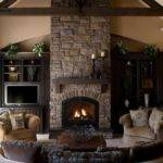 Stone Fireplace Surround Using White Wooden Shelf Among