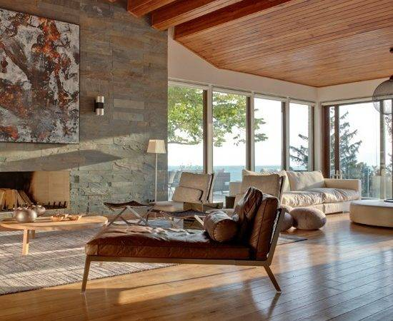Stone Wood Open Plan Living Room Ideas