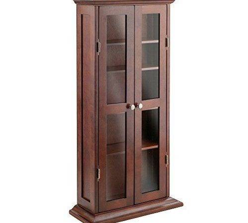 Storage Rack Winsome Wood Dvd Cabinet Glass Doors