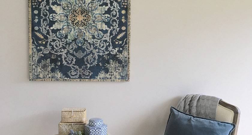 Stunning Dark Blue Wall Canvas Hand Block Printed Ready