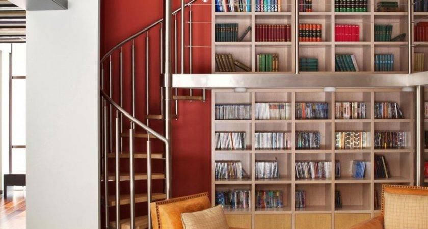 Stunning Small Home Library Designed Using High Ceiling