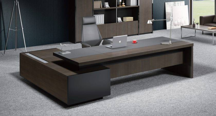 Stylish Larry Office Table Wood Leather Boss Cabin