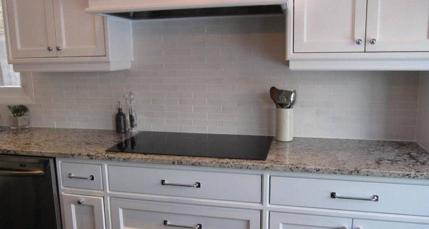 Subway Tile Backsplash Off White Cabinets Amazing