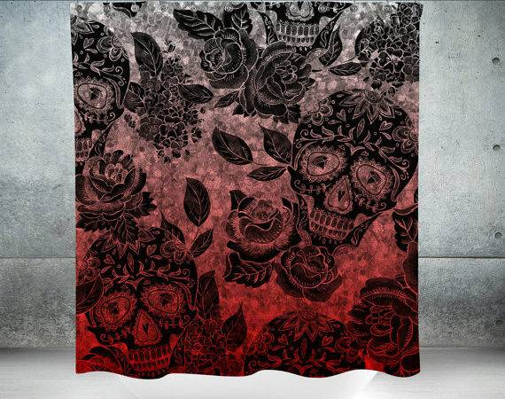 Sugar Skull Shower Curtain Gothic Ombre Optional