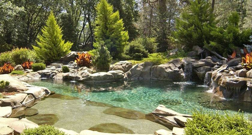 Swimming Pool Water Features Waterfall Design Ideas