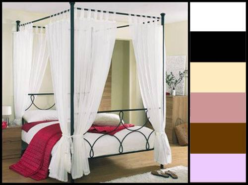 Tab Top Voile Four Poster Bed Curtain Set Panels