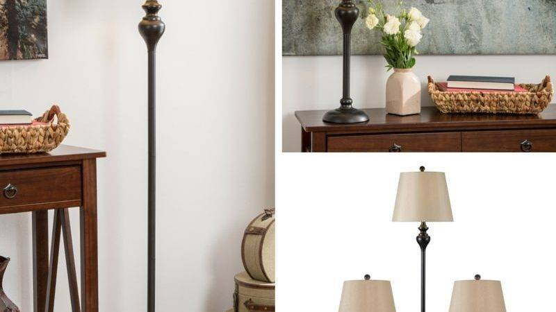 Table Floor Lamp Set Vintage Bronze Contemporary Lamps