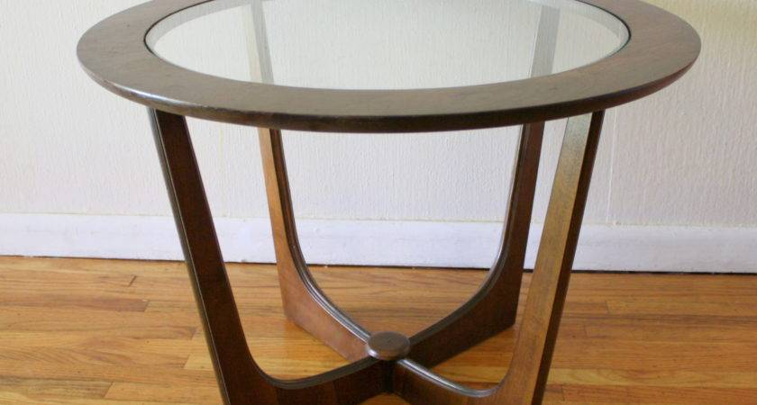 Table Round Glass Coffee Wood Base Sunroom