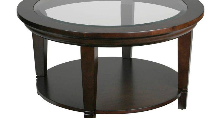 Table Round Glass Coffee Wood Base