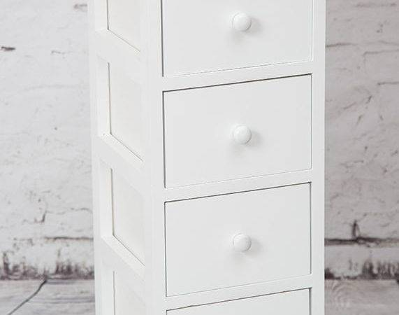 Tall White Wooden Four Drawer Bedside Table Storage Unit
