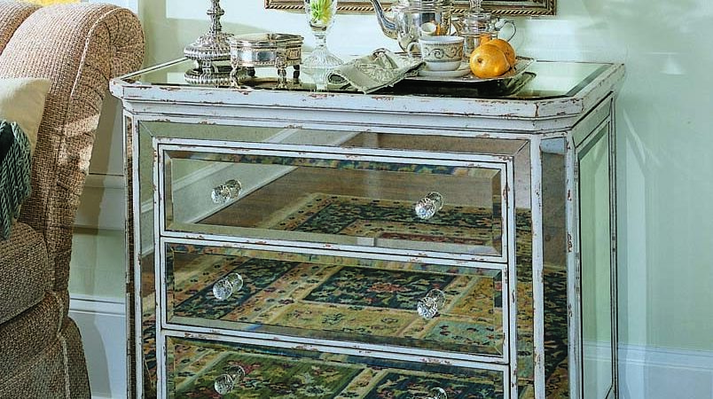 Three Drawer French Mirrored Chest Chests