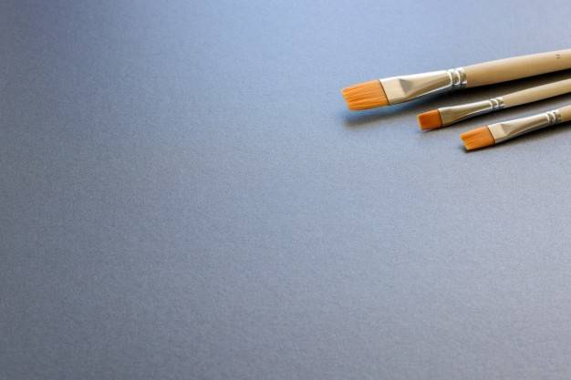 Three Paint Brushes Lined Isolated Dark Grey