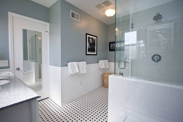 Traditional Black White Tile Bathroom Remodel