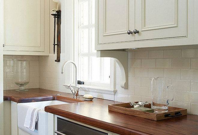 Traditional Off White Kitchen Brick Backsplash Home