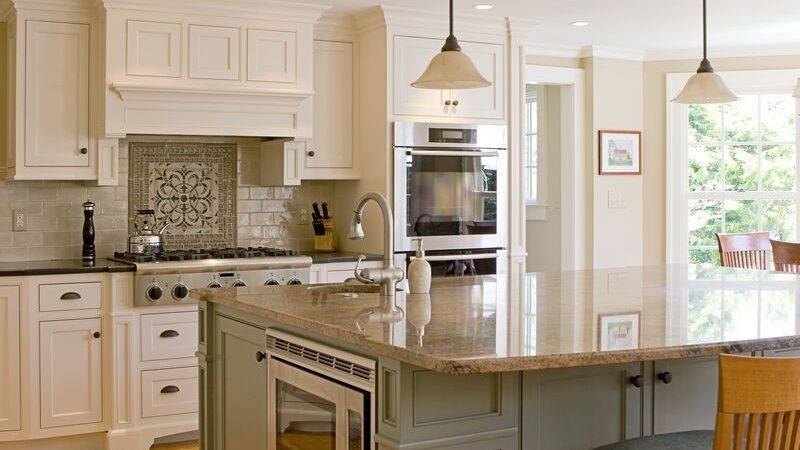 Traditional Two Tone Cabinets Large Island Kitchen
