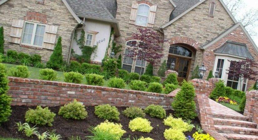 Traditional Wall Design Front Yard Landscaping Ideas
