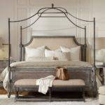 True Vintage Wood Fabric Upholstered Canopy Bed