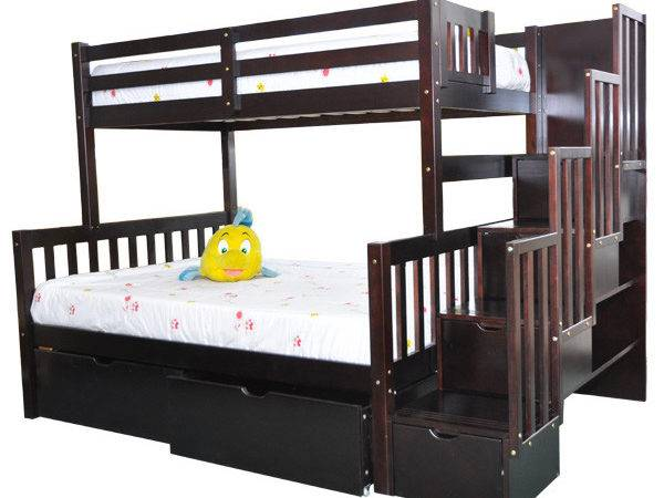 Twin Stairway Bunk Bed Flamingo Espresso Stairs Beds
